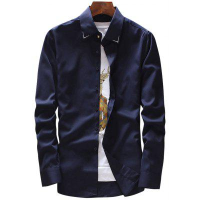 Buy PURPLISH BLUE 3XL Long Sleeve Embroidery Detail Shirt for $25.45 in GearBest store