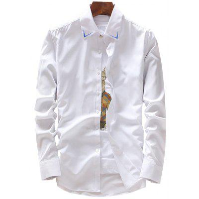 Long Sleeve Embroidery Detail Shirt