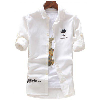 Roll Tab Sleeve Moustache Hat Embroidery Shirt