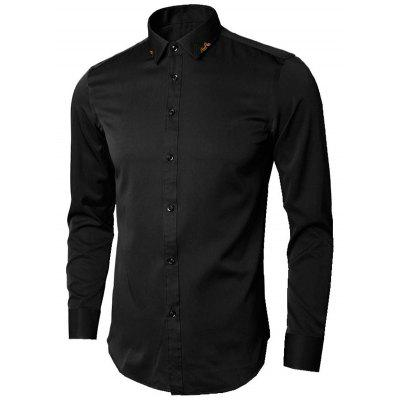 Leaves Embroidery Long Sleeve Shirt