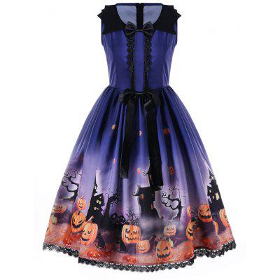 Halloween Bowknot Embellished 50s Swing Dress