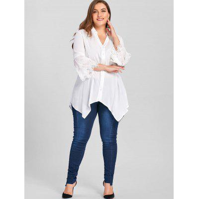 Plus Size Layered Sleeve Tunic BlousePlus Size Tops<br>Plus Size Layered Sleeve Tunic Blouse<br><br>Collar: Turn-down Collar<br>Embellishment: Embroidery<br>Material: Rayon<br>Package Contents: 1 x Blouse<br>Pattern Type: Solid<br>Season: Spring, Fall<br>Shirt Length: Long<br>Sleeve Length: Full<br>Style: Casual<br>Weight: 0.2700kg