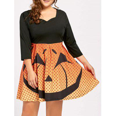 Plus Size Halloween Pumpkin Face Vintage Party Dress