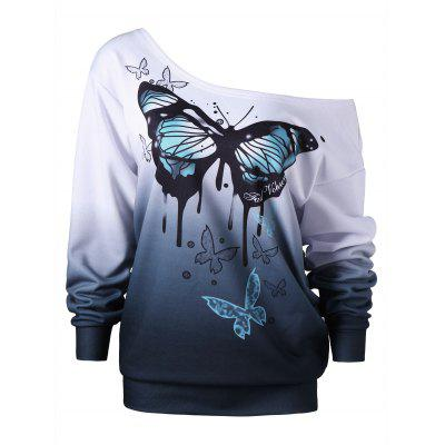 Plus Size Buttterfly Print Skew Neck Sweatshirt