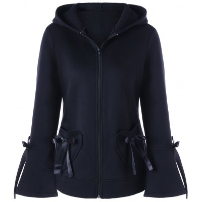 Lace-up Heart Pockets Zip Up Hooded Jacket