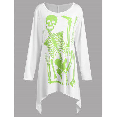 plus size halloween skeleton print asymmetrical t shirt