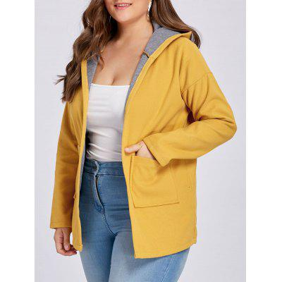 Plus Size Wool Blend Drop Shoulder Hooded Coat