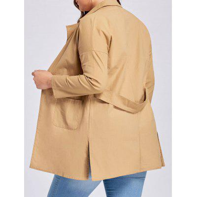 Plus Size Slit Drop Shoulder Lapel Coat