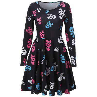 Skull Print Halloween Skater Dress