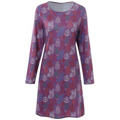 Buy Plus Size Christmas Stocking Printed Dress, PURPLE, 3XL, Apparel, Women's Clothing, Plus Size, Plus Size Dresses for $22.07 in GearBest store