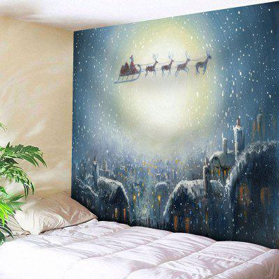 Christmas Moon Sled Wall Tapestry