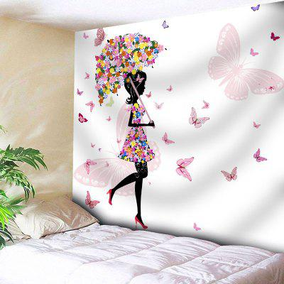 Flower Beautiful Girl Butterfly Wall Tapestry