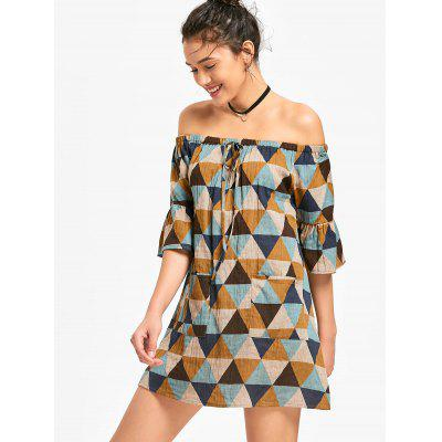 Geometric Print Off Shoulder Mini Dress