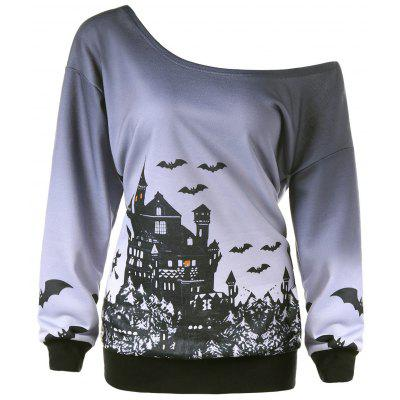 Halloween Plus Size Skew Neck Sweatshirt
