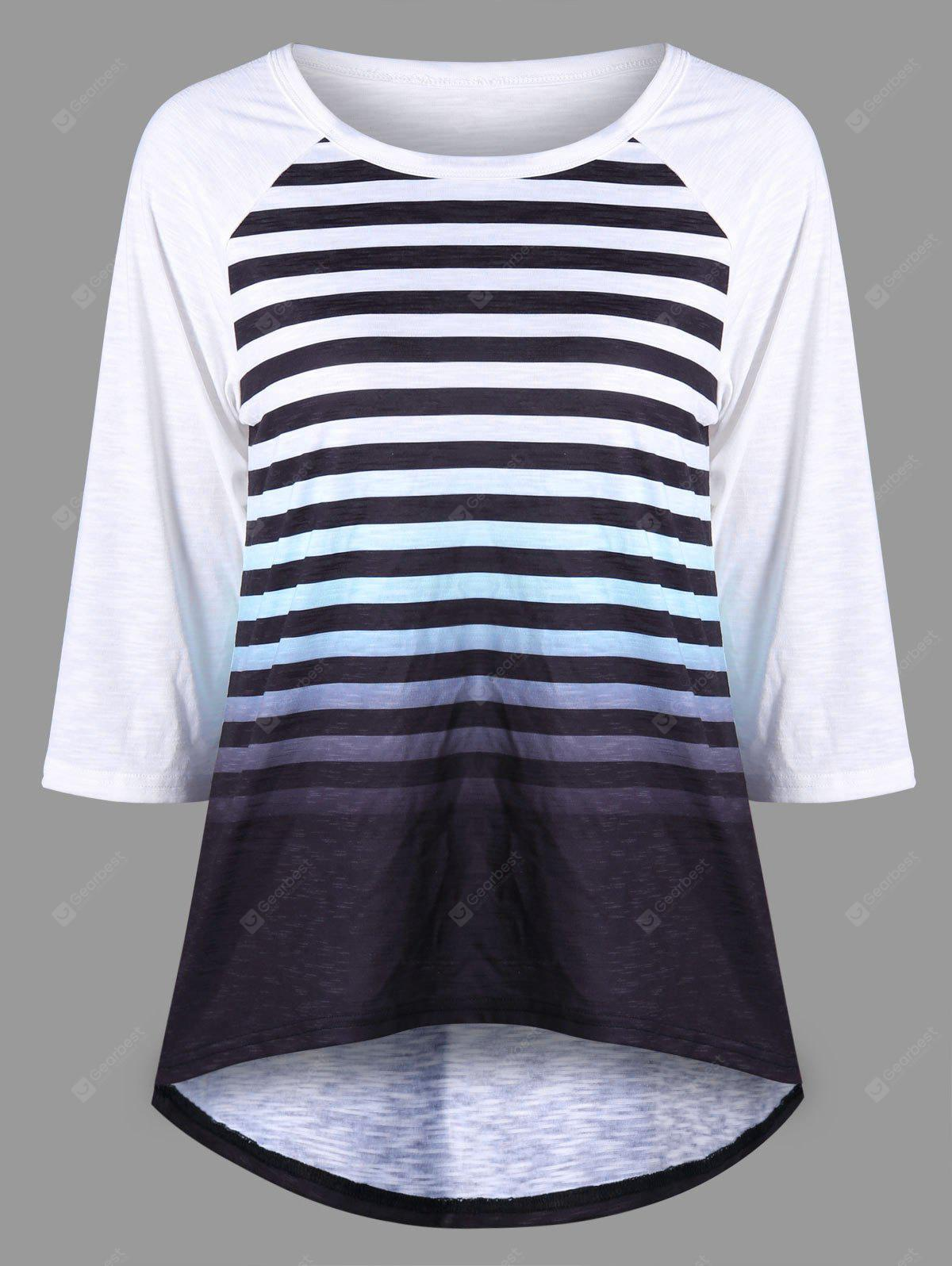 Striped Raglan Sleeve Ombre Top