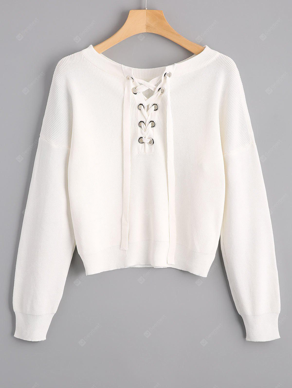 Round Collar Lace Up Knitted Top