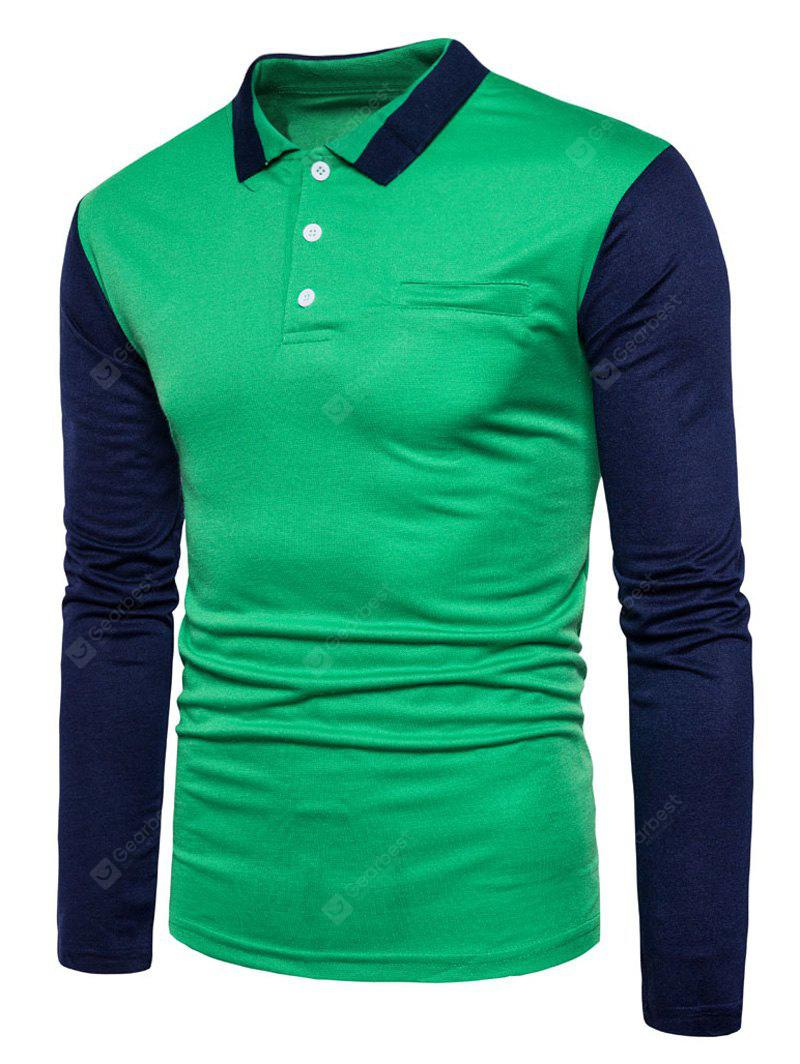Buy polo collar color block long sleeve t shirt xl green for Polo color block shirt