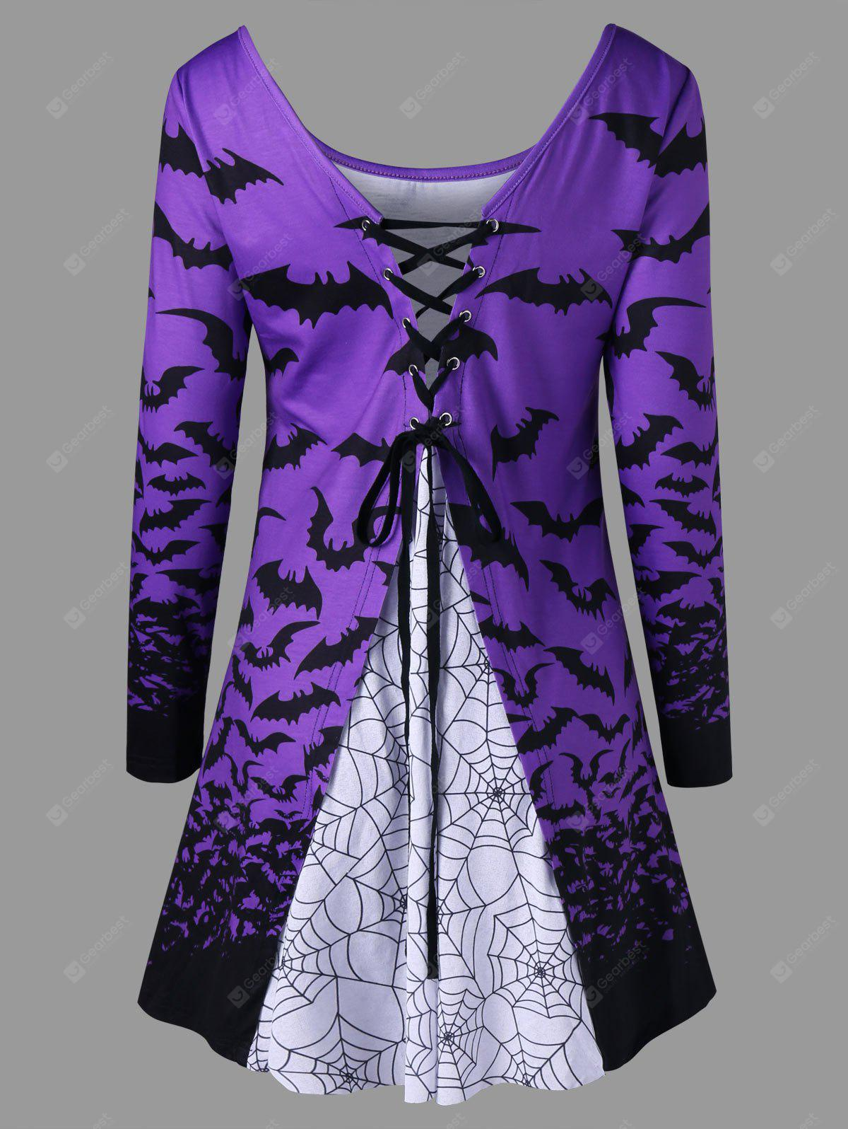Halloween Bat Spider Web Lace Up Top
