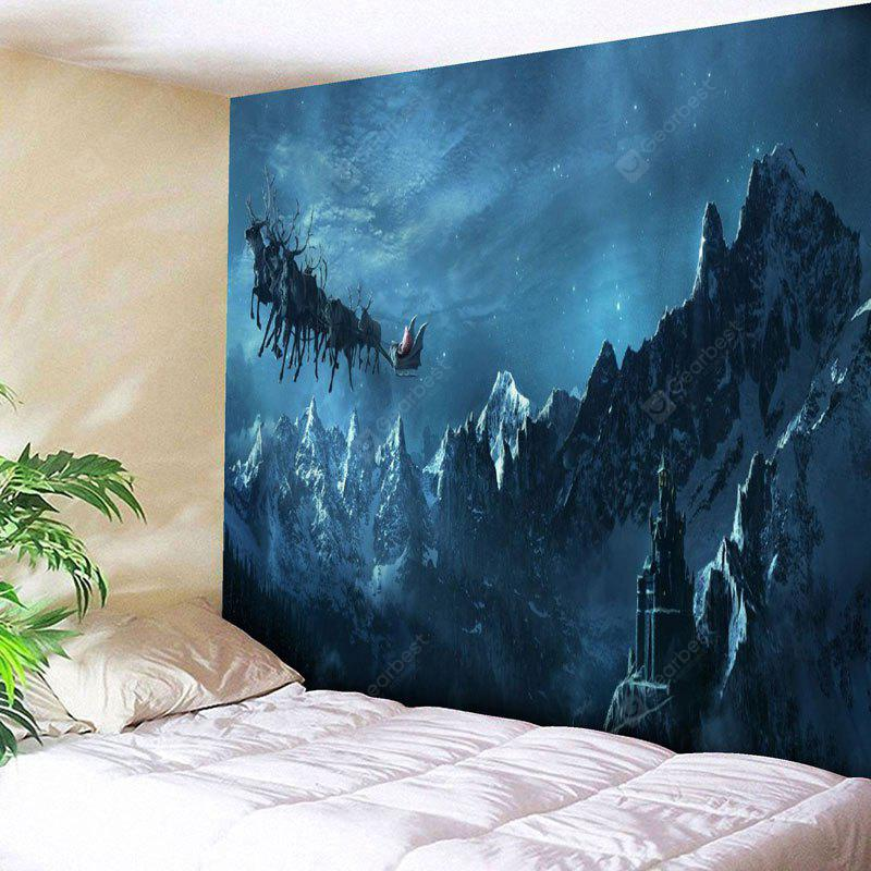 Christmas Sled Snow Mountain Wall Tapestry