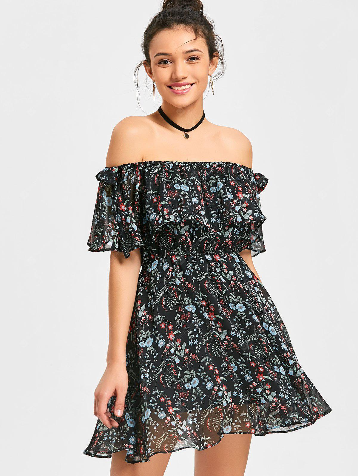 Off The Shoulder Floral Ruffle Dress