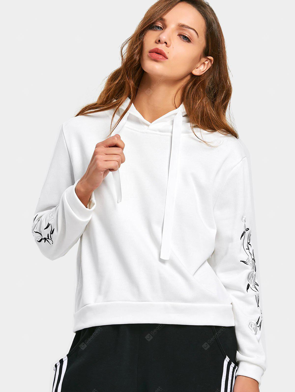 Drawstring Flower Patched Hoodie