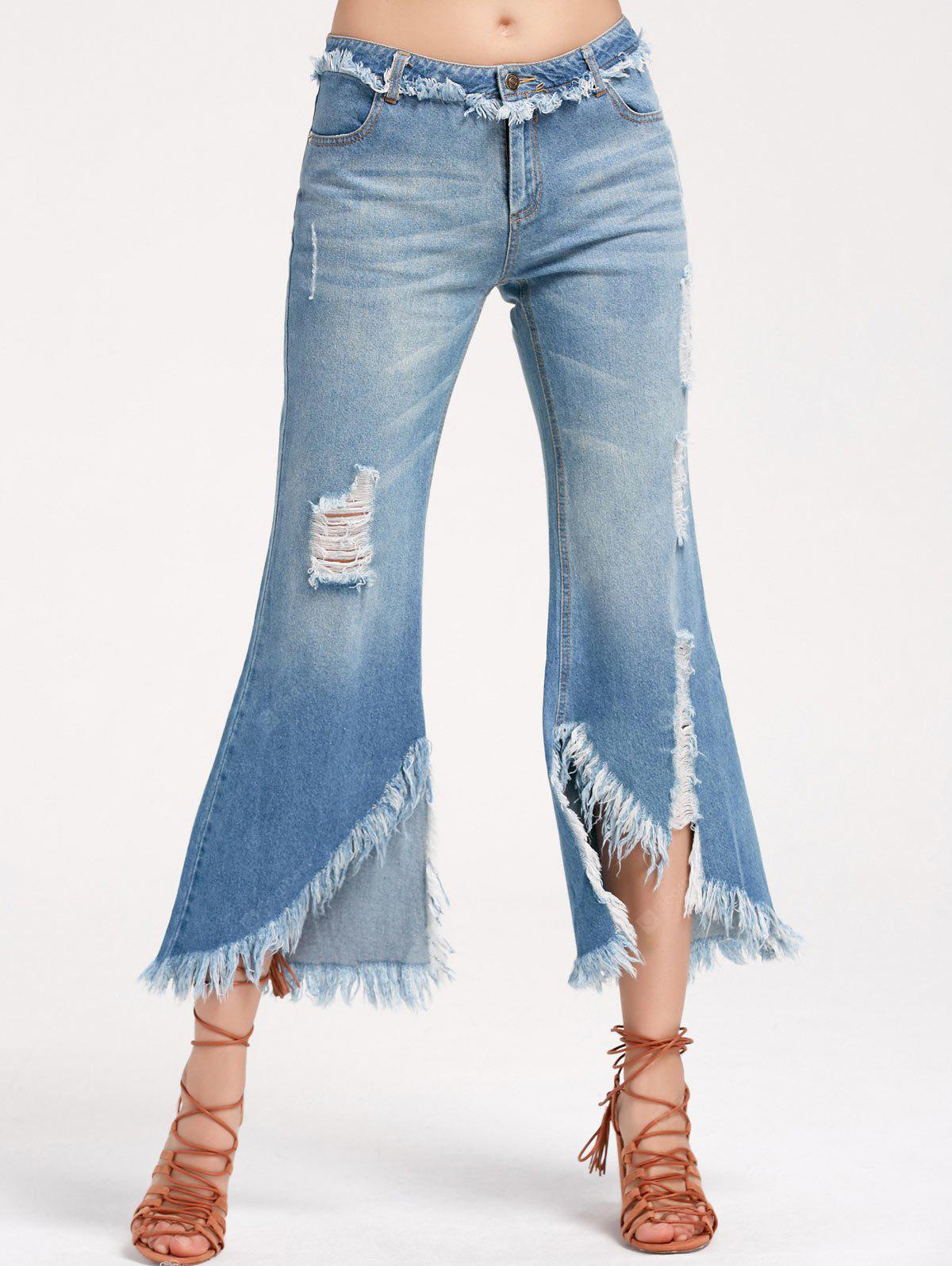 Asymmetrical Destroyed Frayed Flare Jeans