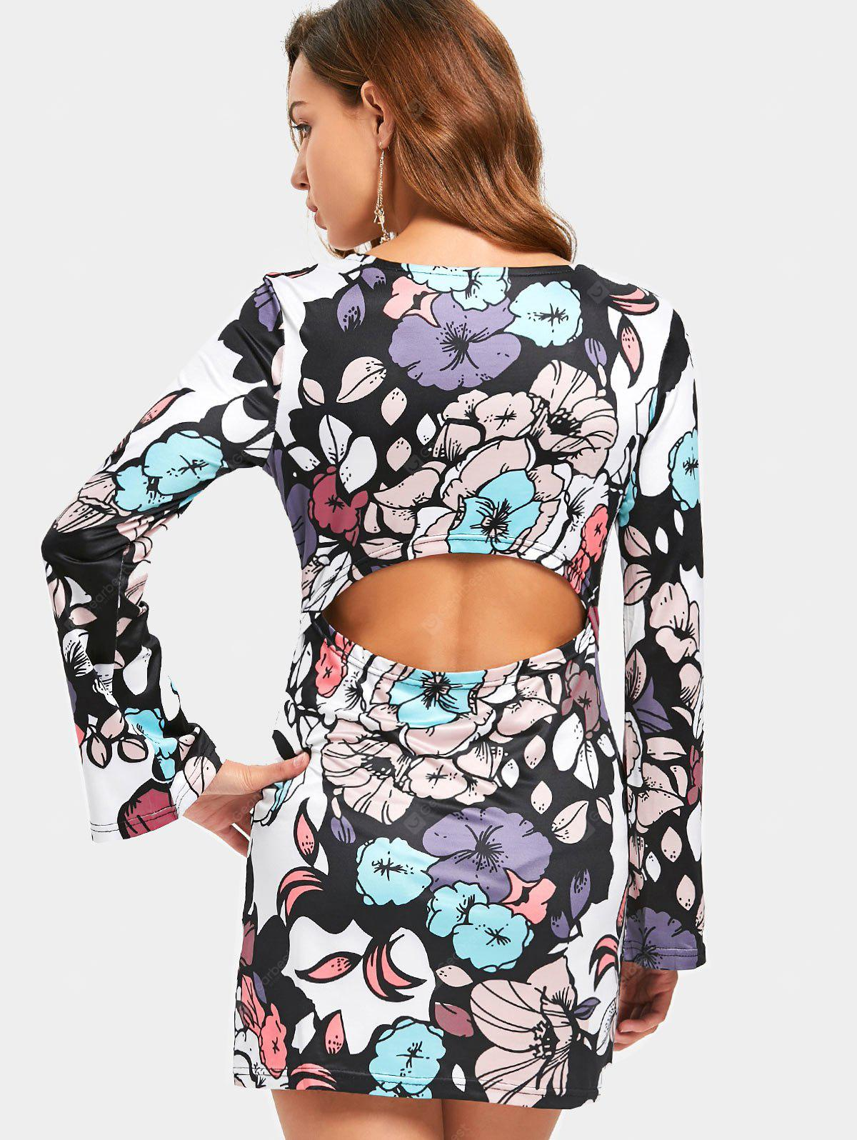 Cut Out Floral Printed Dress