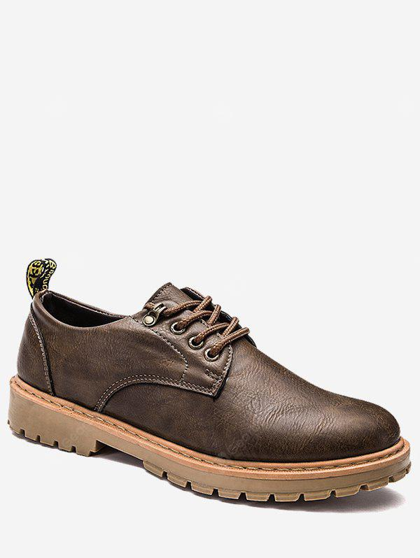 Faux Leather Lace Up Low Top Casual Shoes