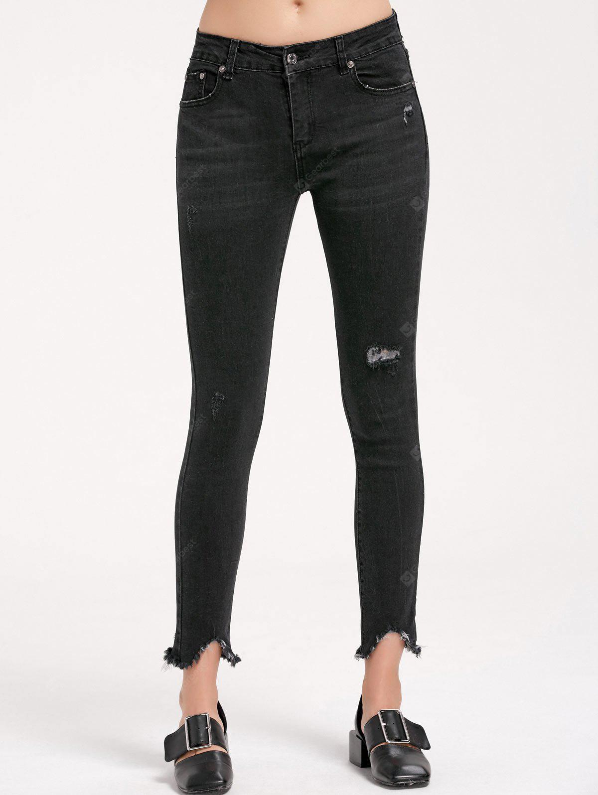 BLACK M Ripped Frayed Skinny Pencil Jeans
