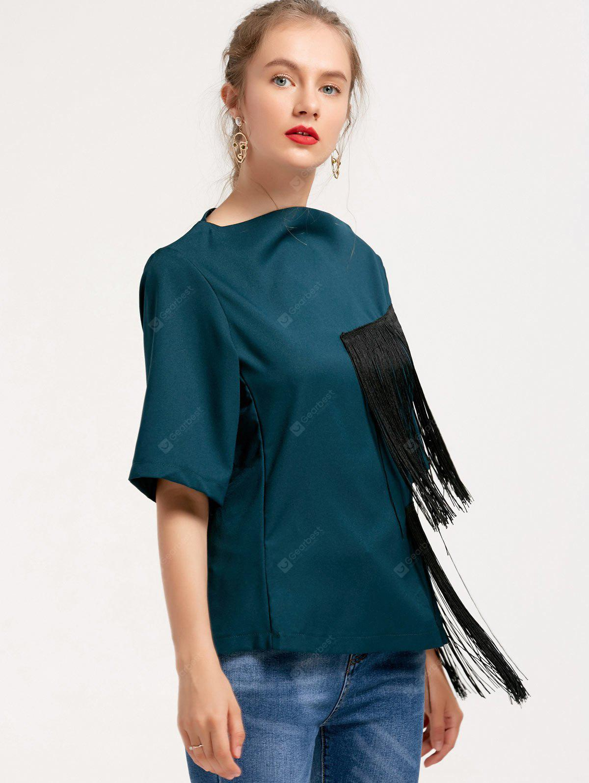 Asymmetrical Fringed Top