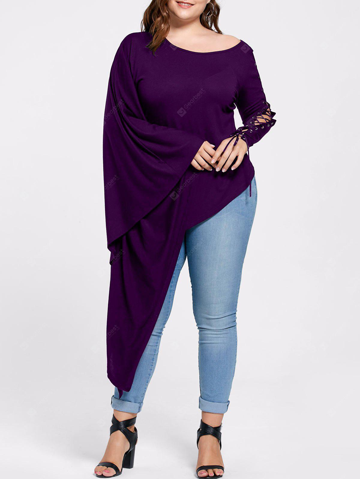 Plus Size Lace Up Batwing Ärmel Asymmetrische T-Shirt