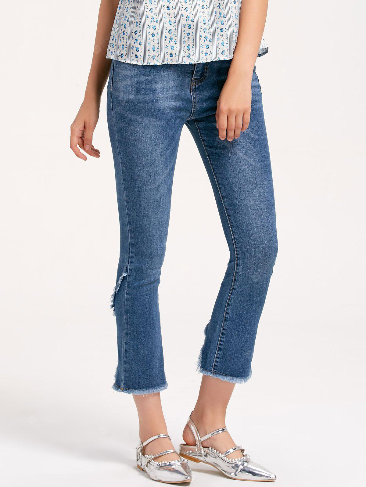 Slit Frayed Ninth Boot Cut Jeans