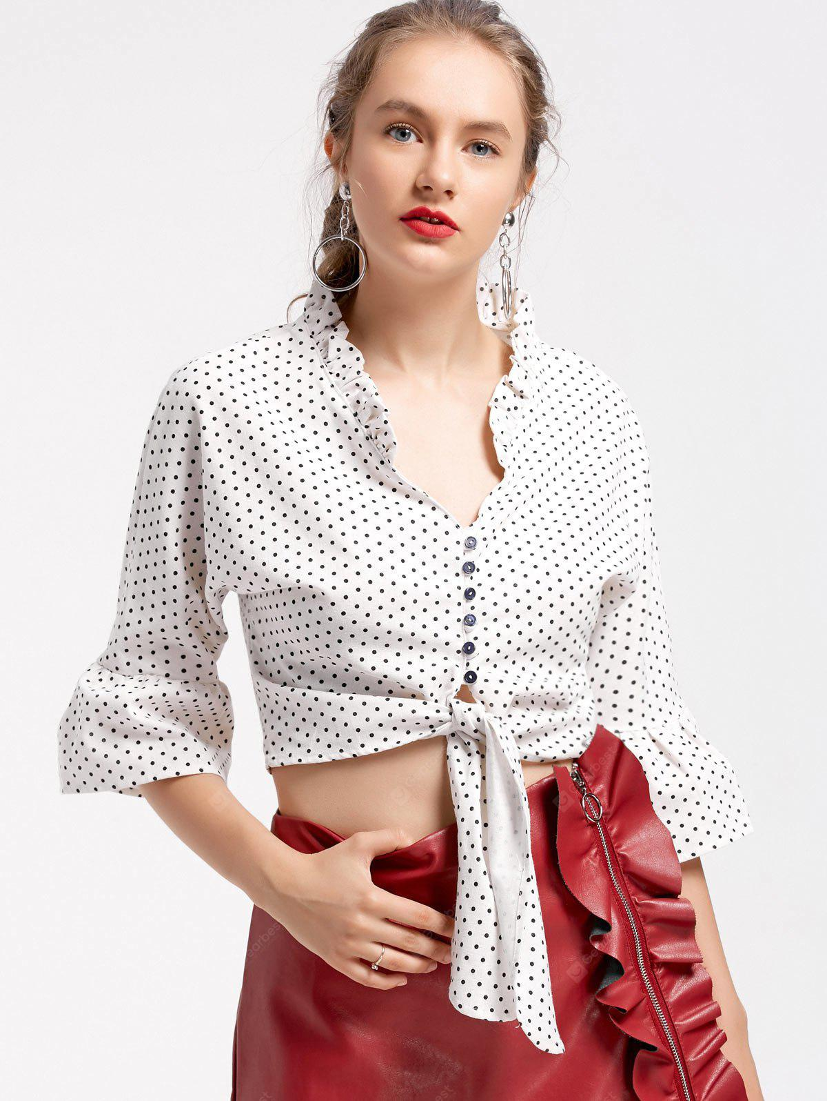 Polka Dot Bow Tied Cropped Blouse