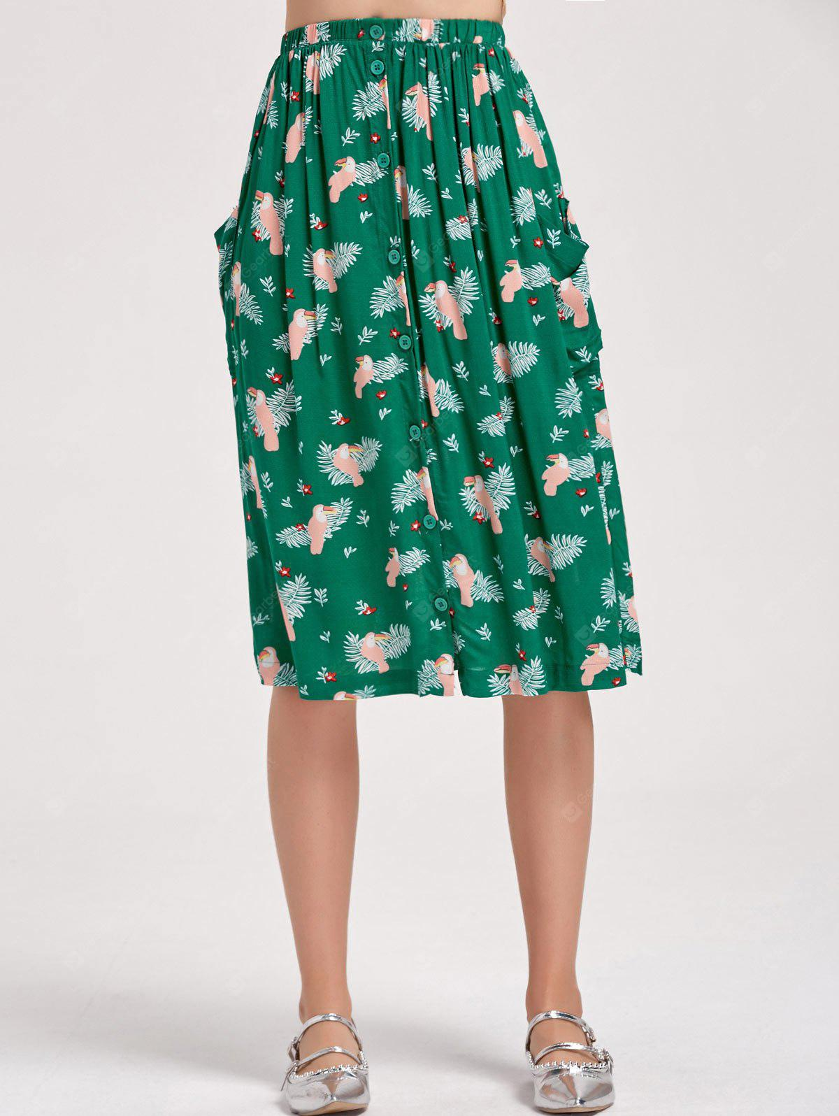 Bird Button Up A Line Midi Skirt