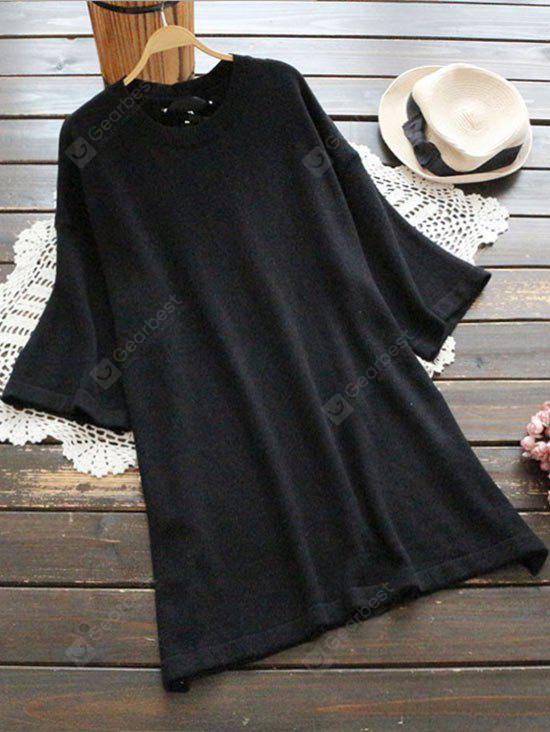 Plain Back Lace Up Sweater Dress