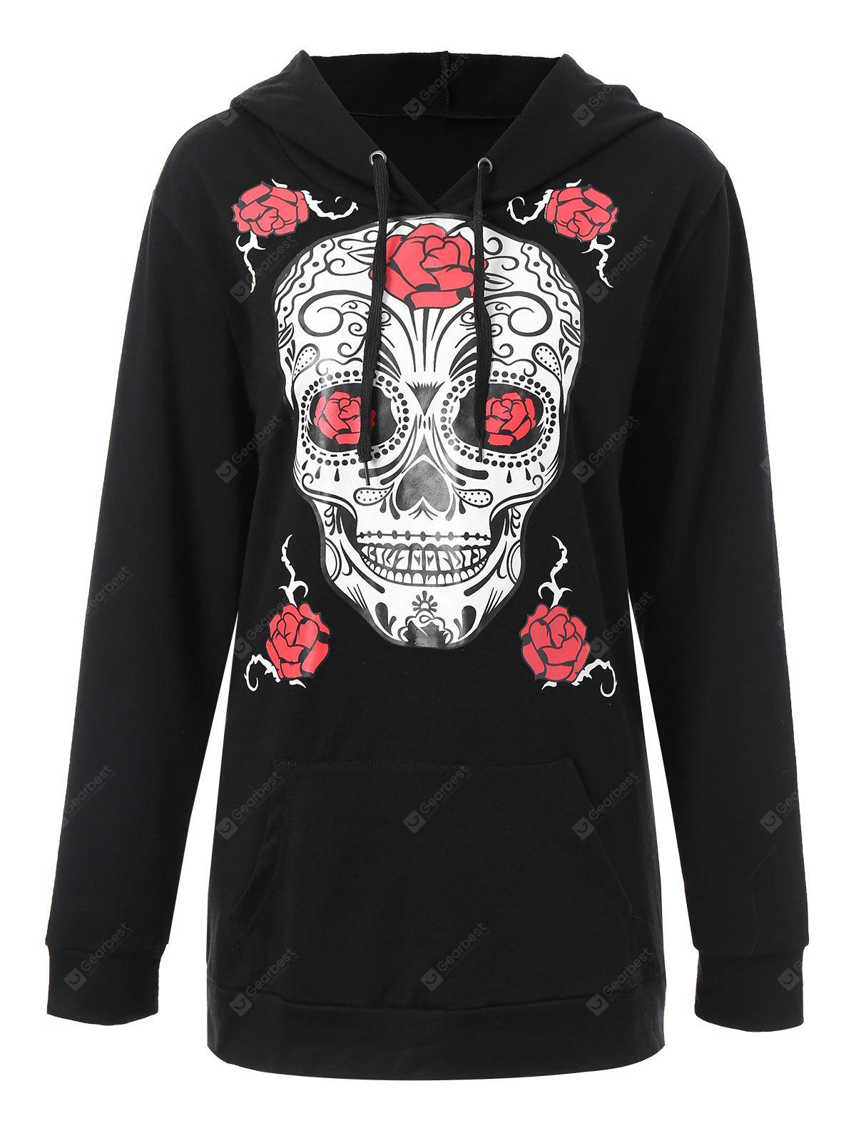 Plus Size Halloween Skull Floral Graphic Hoodie