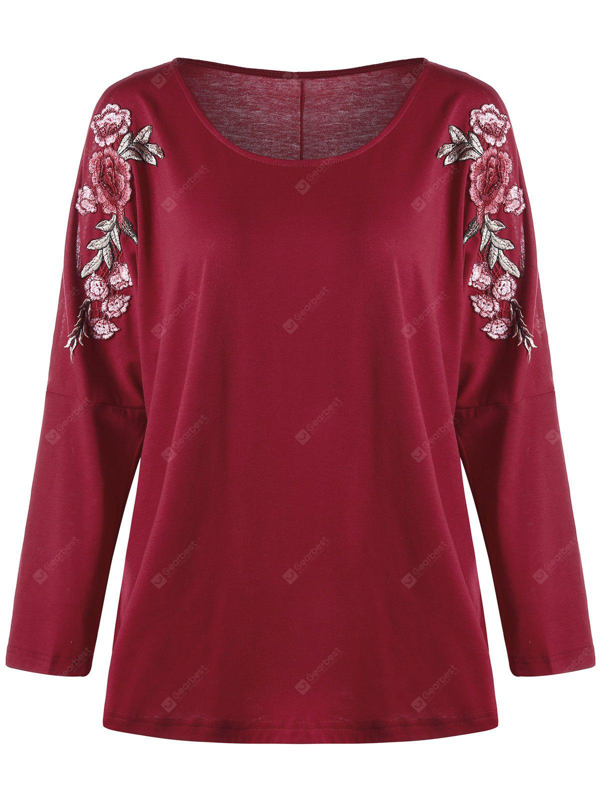Plus Size Split Sleeve Embroidered Top RED 5XL