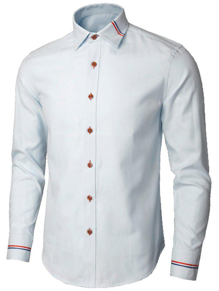 LIGHT BLUE M Long Sleeve Stripe Detail Shirt