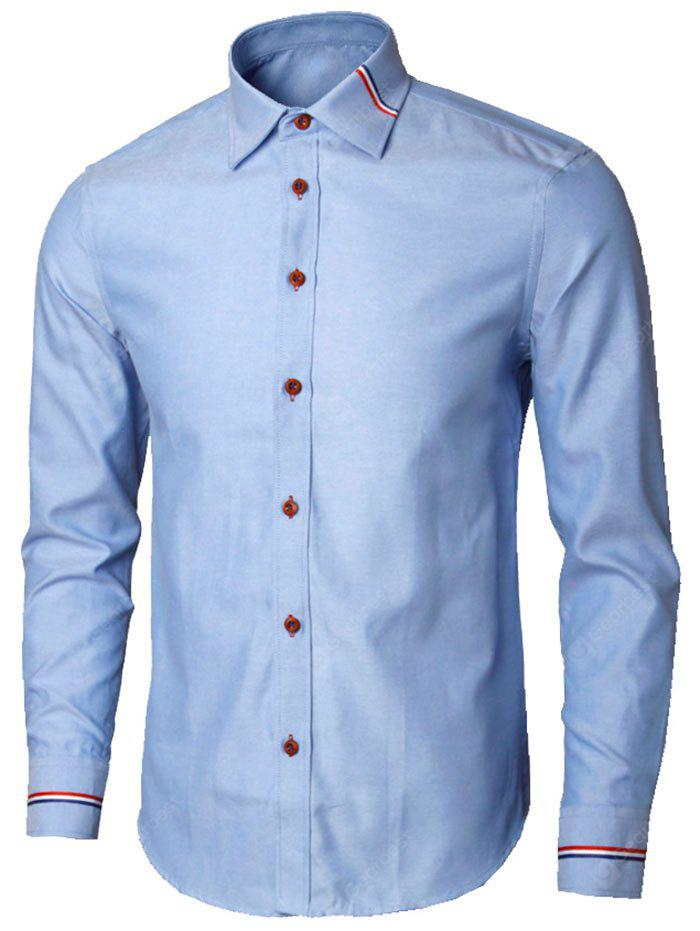 BLUE M Long Sleeve Stripe Detail Shirt