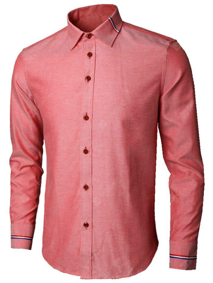 WATERMELON RED 3XL Long Sleeve Stripe Detail Shirt