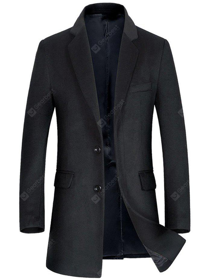 BLACK XL Single Breasted Flap Pocket Wool Blend Coat