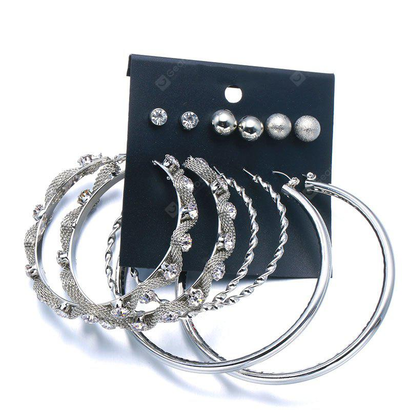 Punk Rhinestone Circle Ball Ohrring Set