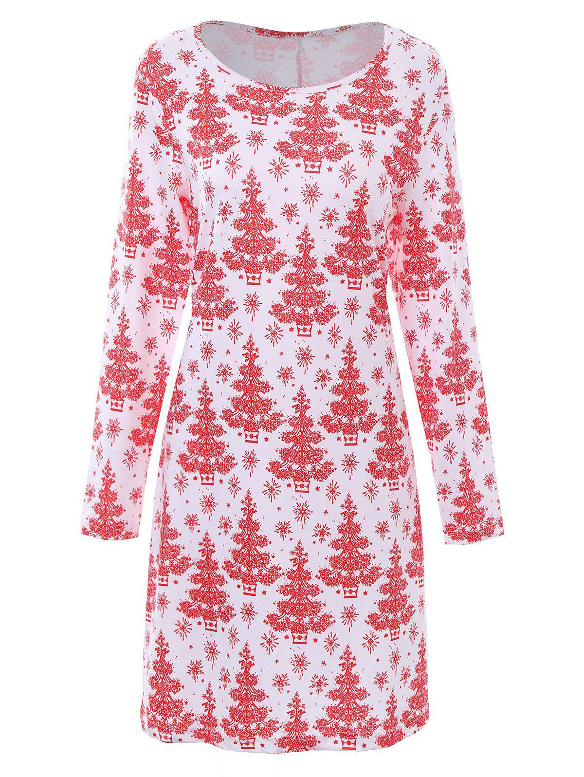 Plus Size Christmas Tree Printed Dress with Sleeves