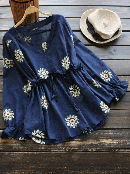 Drawstring Waist Notched Floral Blouse