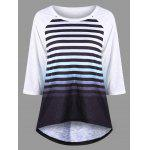 Striped Raglan Sleeve Ombre Top - BLACK WHITE