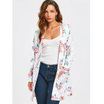 Floral Open Front Pockets Blouse - WHITE