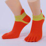 Five Fingers Toe Cotton Blend Ankle Socks - RED