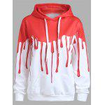 Halloween Blood Print Drawstring Hoodie - RED AND WHITE