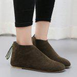 Buy Pointed Toe Flat Ankle Boots 36 ARMY GREEN