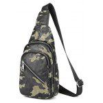 Camouflage Pattern Zips Chest Bag - GREEN